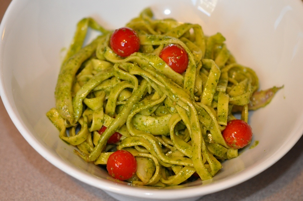 tagliatelle with cherry tomatoes, shelling beans & pesto, flour + water