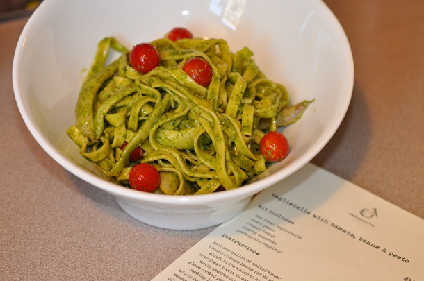 tagliatelle with cherry tomatoes, shelling beans & pesto, flour + water, salumeria