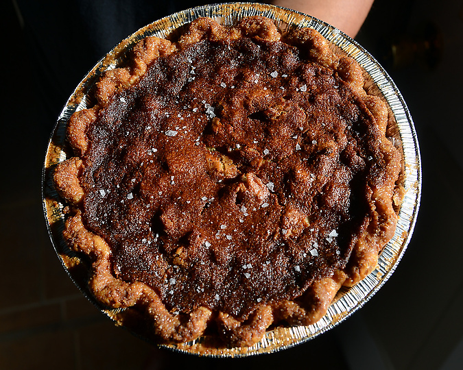 salty honey walnut pie, three babes bakeshop