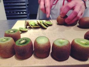 Prep: Making kiwi curd.
