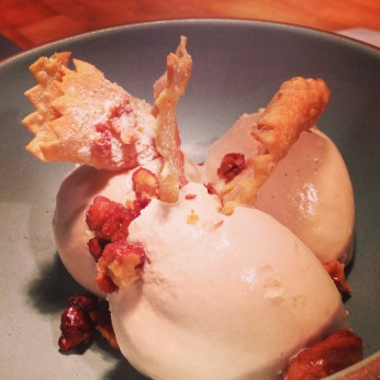 Nocino gelato with crostoli & candied walnuts.