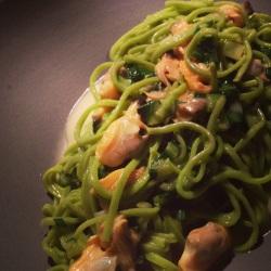 Green garlic tagliarini with clams, punterelle & bone marrow.