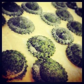 Spinach & lamb raviolini.