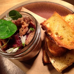 Duck rillettes with preserved orange marmalade & toasted sourdough.