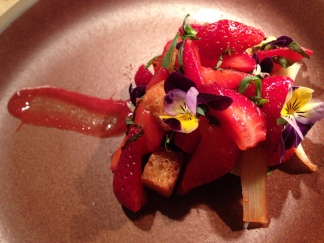 Smoked strawberry panzanella with rhubarb & duck liver.
